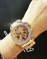 Luxury Crystal Diamond Watches Women Gold Watch Steel Strip  Gold Sparkling Dress Wristwatch Gold