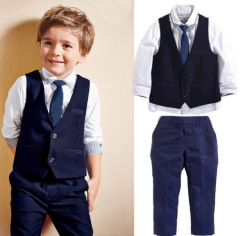 3pieces set  children's leisure clothing sets kids baby boy suit vest gentleman clothes As picture 2