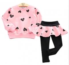 Children Clothing  Toddler Girls Clothing Sets Heart Print T-shirt + Pant 2 Pcs  Kids Clothes Pink 100cm