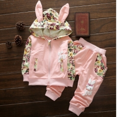 Cute Baby Girl Clothes Sets For Children  Long Sleeve Print Toddler Girls Baby Suit for Kid Pink 80cm