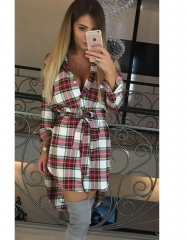 NEW Women Dress Sexy Long Sleeve Office Dress Irregular Plaid Shirt Dresses Women Clothes S White