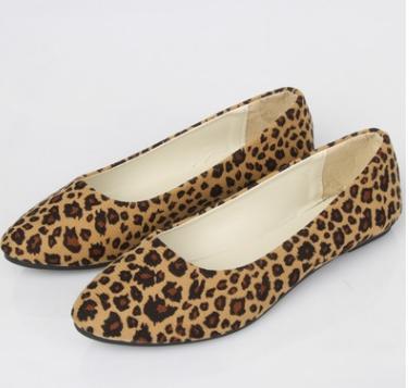 Women Ladies Flat Shoes Leopard Printed Low Heel Beige Brown Women shoes Yellow 37