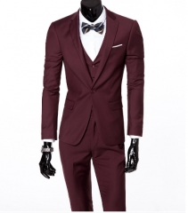 ( jacket + vest + pants )  Men's Slim Fit Business Three-piece Suits Male groom Man Blazers Sets Red L