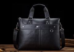 2018 Casual Briefcase Business Shoulder Bag Leather Messenger Bags Computer Laptop Handbag Bag Black one size