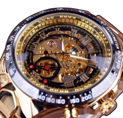 Golden Watch Mens Watches Top Brand Luxury Montre Homme Clock Men Automatic Skeleton Watch Black gold one size