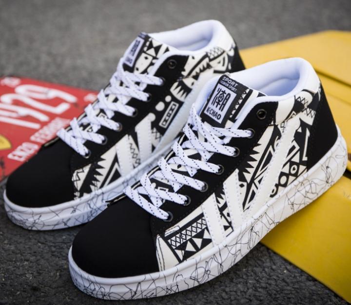 Hi-top Shoes Canvas Shoes Men's  Version of the Tide Men's Graffiti Tie Men's Shoes White 39