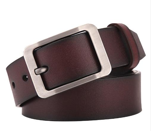 High quality men's genuine leather belt belts men luxury strap male belts for men fashion pin buckle Brown 105-125cm