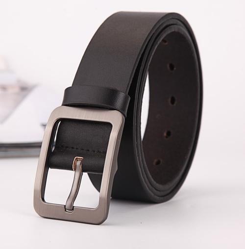 High quality men's genuine leather belt belts men luxury strap male belts for men fashion pin buckle Black 105-125cm