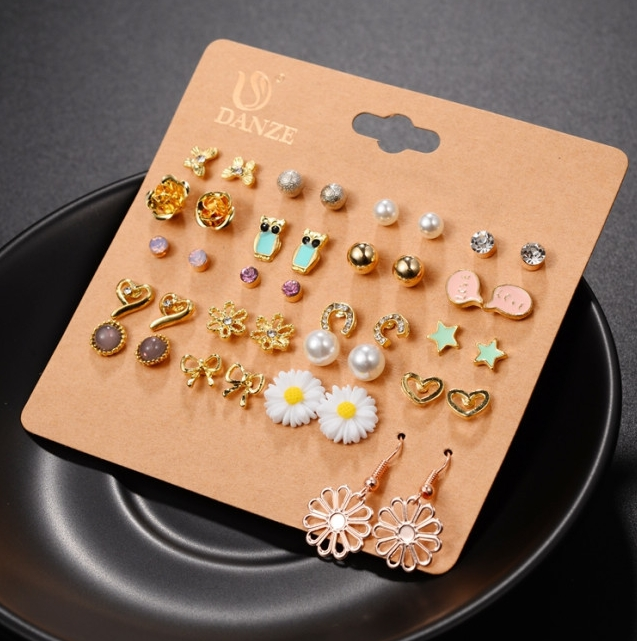 20 Pairs Fashion Stud Earrings Set For Women Elegant Mixed Crystal metal Ball Earrings Jewelry As picture one size