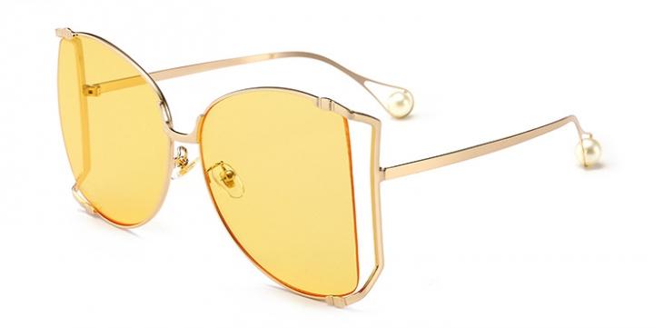 Women Sunglasses Pearl Decoration Legs Fashion Square Sun Glasses Ladies Gradient Clear Shades C2 one size