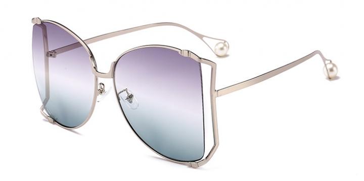 Women Sunglasses Pearl Decoration Legs Fashion Square Sun Glasses Ladies Gradient Clear Shades C5 one size