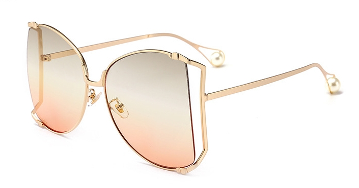 Women Sunglasses Pearl Decoration Legs Fashion Square Sun Glasses Ladies Gradient Clear Shades C6 one size