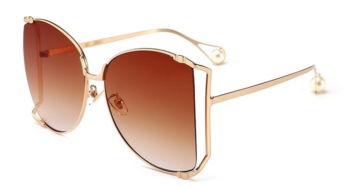 Women Sunglasses Pearl Decoration Legs Fashion Square Sun Glasses Ladies Gradient Clear Shades C7 one size