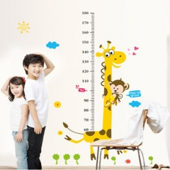 Cartoon Animals Children Height Measure Wall Stickers for Kids Room Wall Decals Wall Sticker As picture send free gift