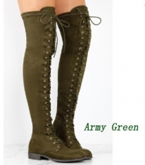 Woman Boot lace-up knee flat boots  Over The Knee High Boots Shoes Long  Boots Army Green 37