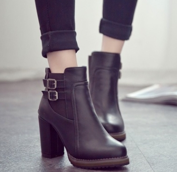 Women Shoes Buckle  Ankle Boots PU leather Round Toe Square High Heel Ladies Shoes Black 37