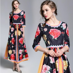 New Women's Slim Rose Print Heavy Temperament Dresses  Long Skirt S As picture