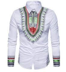 3d Printed Shirts Fashion Mens Shirts Long Chemise Homme Casual Hip Hop Dress Shirt White M