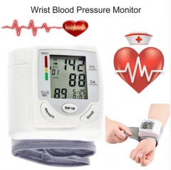 LCD Display Sphygmomanometers pulsometer Wrist Blood Pressure Monitor Heart Beat Rate As picture send free gift