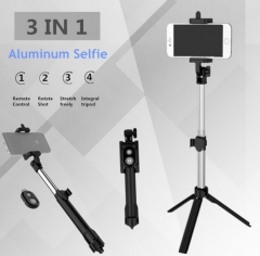 Tripod Monopod Selfie Stick Bluetooth With Button Pau De Palo selfie stick for iphone Android stick Black one size