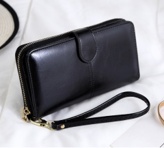 Oil Wax Women's Money Bag Hasp Money Clips Purse Wallets Clips Purses Zipper Clip Buckle Wallets Black one size