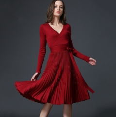 Dress Sexy Slim V Collar Pleated Long Sleeve Knit Casual Knitted  Belt  Dresses One size Red