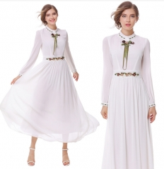 New White Fairy Long Sleeve Heavy Work Embroidered Chiffon Big Swing Elegant Dresses S White