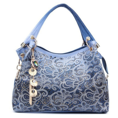 e49631c70d9 ... Handbag Floral Print Shoulder Bags Ladies PU Leather Tote Bag Blue One  size  Product No  1968244. Item specifics  Brand