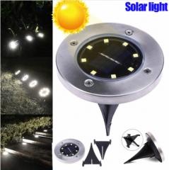 4 Pcs/set LED Solar Power Buried Light 8 LEDs Ground Lamp Outdoor Path Way Garden Deco White light Four