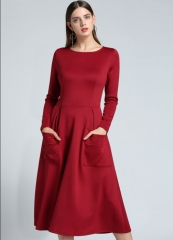 New Style Kenya Women Fashion Long Sleeved Zipper Pocket Dresses S Red