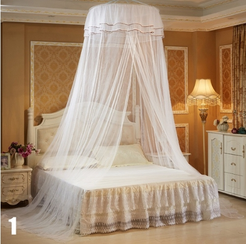 New Elegant Round Bedding Mosquito Net Home Dome Top Canopy Netting With 2 Butterflies White 65cm round diameter