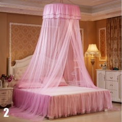 New Elegant Round Bedding Mosquito Net Home Dome Top Canopy Netting With 2 Butterflies Pink 65cm round diameter
