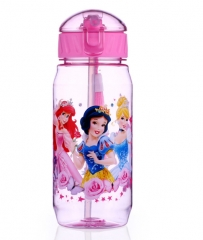 Disney 450 ML Baby Minnie Mickey Feeding Cup with straw Cartoon snow White Sports water Bottle A 450ML