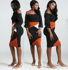 Fashion Off shoulder strapless Lantern Sleeve Colorblock Dress package hip Wrap Pencil Skirt L as picture