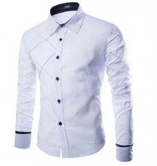 New Brand Business Men's Slim Fit Dress shirt Male Long sleeve Striped Shirt camisa masculina White M one size