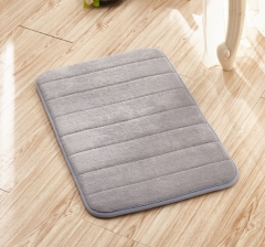 40*60cm Memory Foam Floor Bath Mat Coral Velvet Anti-slip Bathroom Rug Magnificent Stripe Carpet gray 40cm*60cm