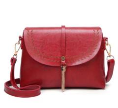 Vintage Tassel PU Leather Handbag Women Messenger Purse Crossbody Satchel Shoulder Sling Bag Red one size