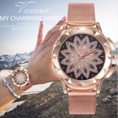 Fashion Women Rose Gold Flower Rhinestone Wrist Watches Luxury Casual Female Quartz Watch Rose Gold one size