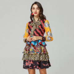 Women's Puff Sleeve Bow Collar Vintage Ethnic Printed Layer Ruffle Resort Dress Robe Femme S as picture