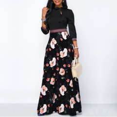 Women Long Dresses Bohemia Hollow neck Three Quarter Sleeve Floral Print Female Stylish Style Dress S As picture