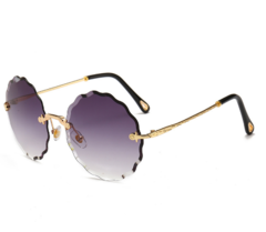 Vintage Round Sunglasses Women Men Fashion Rimless Glasses Retro Pink Sun Glasses PURPLE one size