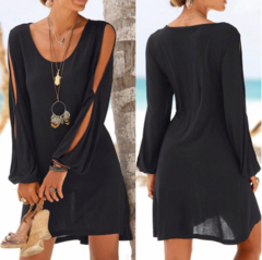 Fashion Women Casual O-Neck Hollow Out Sleeve Straight Dress Solid Beach Style Mini Dress Women S Black