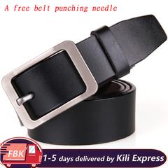 High Quality Man Belt Mens Belt Genuine Belt Luxury Buckle Casual Mens Belt A free belt punching needle Black 105-125cm