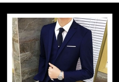 Suit Suit Men's Three-piece Business Suits Professional West Slim(Clothes+ pants+ vests) black s