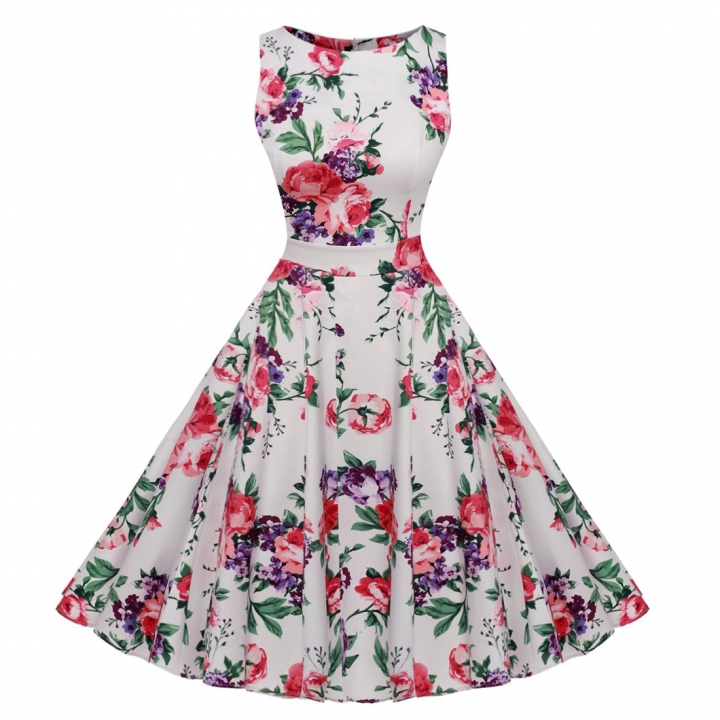 Retro temperament Hepburn print lace waist dress s red