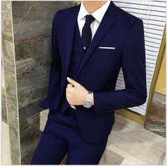 Suit Suit Men's Three-piece Business Suits Professional West Slim(Clothes+ pants+ vests) blue m
