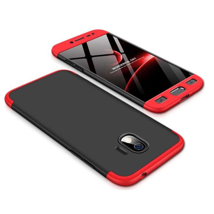 new product 247a2 468a8 Frosted Hard PC Back Cover Full Body Detachable Parts Case for Samsung  Galaxy J2 Pro 2018 black + red Samsung Galaxy J2 Pro 2018