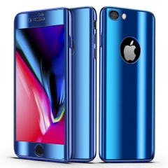 Shockproof PC Slim Cover 2 in 1 Protection with Tempered Glass Screen Protector for iPhone 5 / 5s blue iphone 5 / 5s