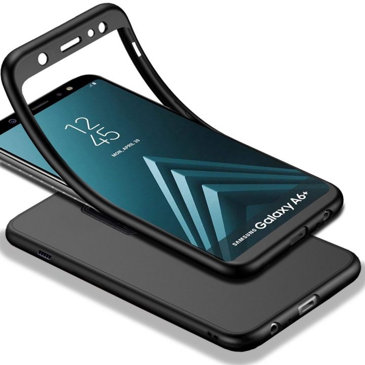 TPU Matte Finish Slim Cover 2 in 1 with Tempered Glass Screen Protector for Samsung Galaxy A6 Plus black Samsung Galaxy A6 Plus (2018) / A6+ (2018) A605