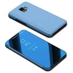 Translucent View Mirror Case Flip Electroplate Stand Smart Cover for Samsung Galaxy J6 Plus blue Samsung Galaxy J6 Plus